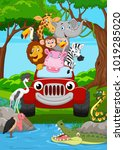 cartoon wild animal riding a... | Shutterstock .eps vector #1019285020