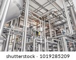 stainless steel pipes in the... | Shutterstock . vector #1019285209