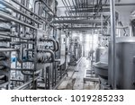 stainless steel pipes in the... | Shutterstock . vector #1019285233