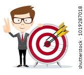 cartoon business man holding a... | Shutterstock .eps vector #1019287018