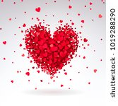 romantic heart of red hearts on ... | Shutterstock . vector #1019288290