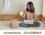 woman online computer shopping... | Shutterstock . vector #1019288869