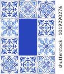 blue tile pattern frame... | Shutterstock .eps vector #1019290276