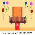 window with turkish flag for... | Shutterstock .eps vector #1019290978