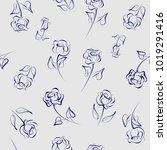 seamless pattern of roses.... | Shutterstock .eps vector #1019291416
