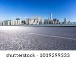 empty road with modern office... | Shutterstock . vector #1019299333