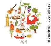 vector symbols of spain in... | Shutterstock .eps vector #1019300158