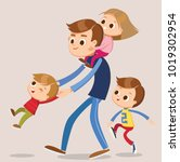 father playing with kids   Shutterstock .eps vector #1019302954