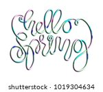 continuous line hand lettering... | Shutterstock . vector #1019304634