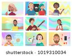 set of different people on... | Shutterstock .eps vector #1019310034