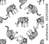 seamless pattern of hand drawn... | Shutterstock .eps vector #1019310448