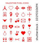 valentine pixel icons. set of... | Shutterstock .eps vector #1019310694