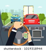 city traffic jam. man hands of... | Shutterstock .eps vector #1019318944