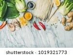asian cuisine ingredients over... | Shutterstock . vector #1019321773