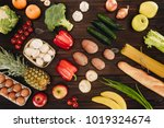 set of vegetables and fruits on ...   Shutterstock . vector #1019324674