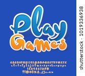 vector playful sticker alphabet ... | Shutterstock .eps vector #1019336938