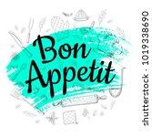 food poster print lettering.... | Shutterstock .eps vector #1019338690