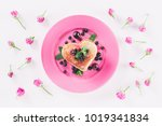 Stock photo top view of heart shaped pancake and pink roses isolated on white valentines day concept 1019341834