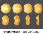 set of 3d three leaf clover... | Shutterstock .eps vector #1019343883