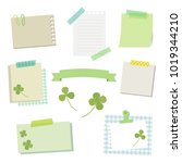 set of clover and papers  ...   Shutterstock .eps vector #1019344210