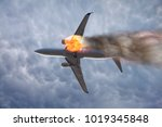 jet carrier and engine on fire | Shutterstock . vector #1019345848