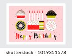 greeting card with birthday... | Shutterstock .eps vector #1019351578