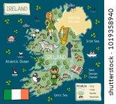 cartoon map of ireland   Shutterstock .eps vector #1019358940