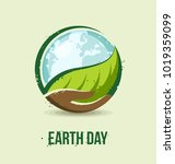 earth day concept. hand holding ... | Shutterstock .eps vector #1019359099