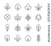 set line icons of leaf | Shutterstock .eps vector #1019362414
