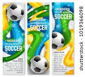 soccer ball banner for football ... | Shutterstock .eps vector #1019366098
