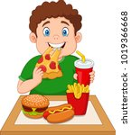 fat boy eating junk food | Shutterstock .eps vector #1019366668