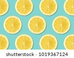 creative layout made of lemons. ... | Shutterstock . vector #1019367124