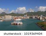 harbor trou fanfaron  port and... | Shutterstock . vector #1019369404