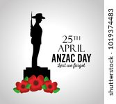 anzac day lest we forget card... | Shutterstock .eps vector #1019374483