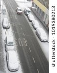 cars in winter on a road. white ... | Shutterstock . vector #1019380213