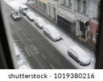 cars in winter on a road. white ... | Shutterstock . vector #1019380216