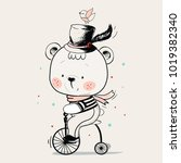 baby bear ridding on a bicycle. ... | Shutterstock .eps vector #1019382340
