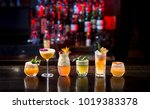 alcohol cocktails standing on... | Shutterstock . vector #1019383378