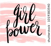 girl power greeting card with... | Shutterstock .eps vector #1019383540