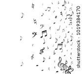black flying musical notes... | Shutterstock .eps vector #1019384170
