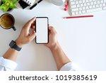 male hands using smartphone... | Shutterstock . vector #1019385619