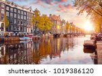 channel in amsterdam... | Shutterstock . vector #1019386120