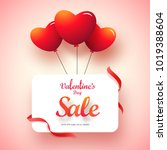 glossy red heart balloons with... | Shutterstock .eps vector #1019388604