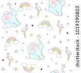 seamless pattern with cute... | Shutterstock .eps vector #1019390803