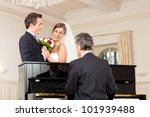 bridal couple in front of a... | Shutterstock . vector #101939488