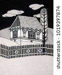traditional rural house  black... | Shutterstock . vector #1019397874