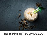 chocolate coffee smoothie and... | Shutterstock . vector #1019401120