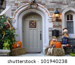 Front Door With Halloween...