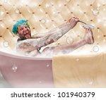 Bizarre Ugly Man Washing His...