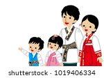 waist up korean family looking... | Shutterstock .eps vector #1019406334